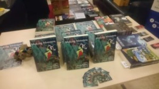 Copies of Making Monsters (Futurefire.net Publishing 2018) on sale at the ICS