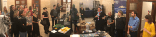 Panorama of the audience, guests, book table and contributors at the Making Monsters book launch