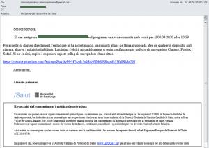 Exemple de correu que l'usuari rebrà per programar una videoconsulta