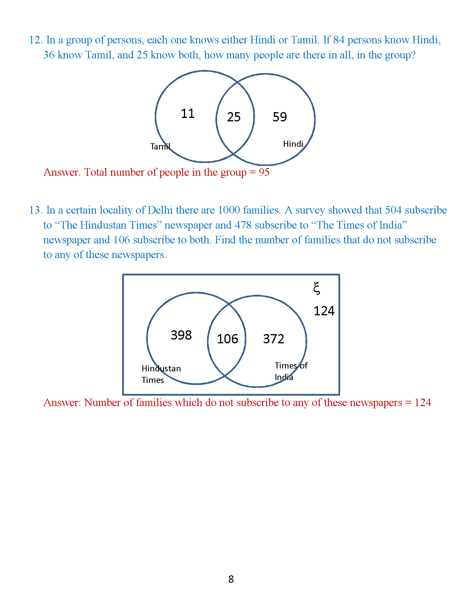 venn diagram problems with answers printable teeth class 8 diagrams exercise 2 icse isc mathematics portal chapter 1 page