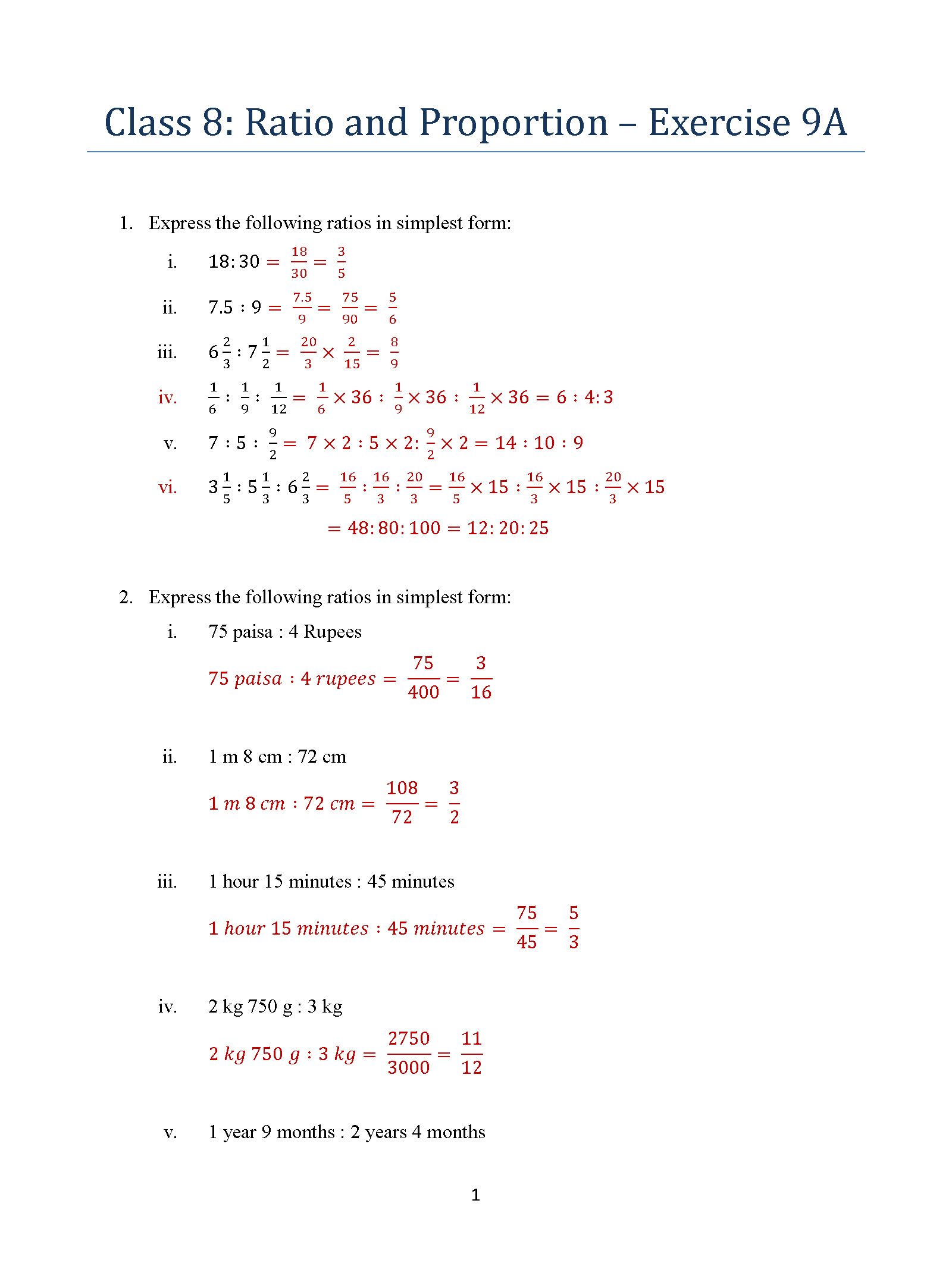 Class 8 Ratio And Proportion Exercise 9a Icse Isc