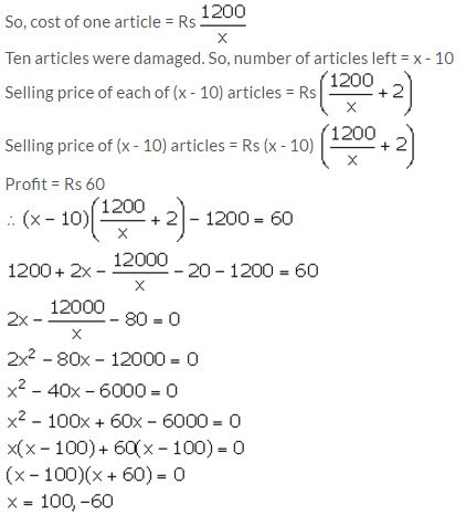 Selina Concise Mathematics Class 10 ICSE Solutions Solving Simple Problems (Based on Quadratic Equations) - 37