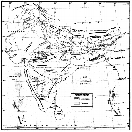 ICSE Class 10 Geography Goyal Brothers Solutions Chapter 3 Location, Extent and Physical Features of India (Through Map Only) 1