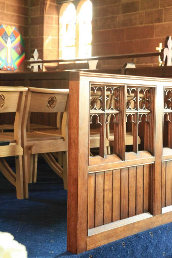 wooden church choir chairs desk chair yew architectural joinery and fit out ics furnishers screens