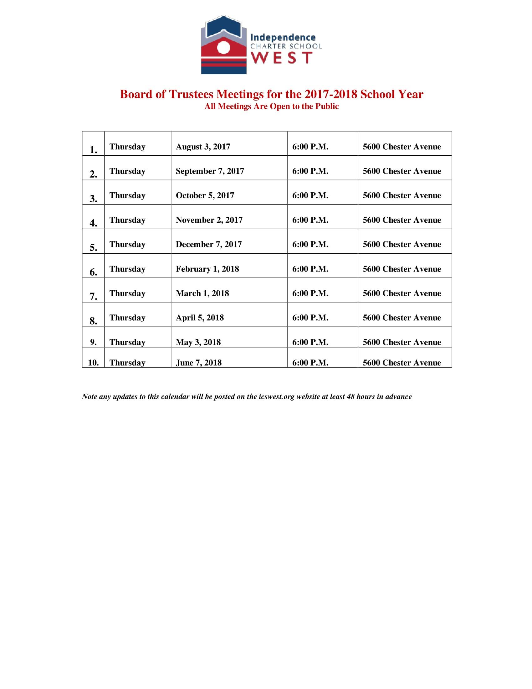 ICSW Board Meeting Schedule 17-18-1