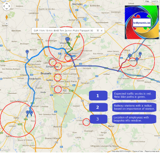 IctDynamic - map with locations of employees, railway stations, constructions and new cicyle path