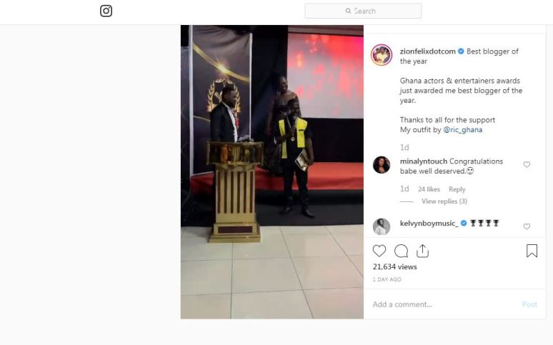 Celebrity Blogger ZionFelix Wins 'Blogger Of The Year' At Ghana Actors And Entertainers Awards