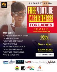 Register Now: Entamoty Media Free YouTube Masterclass For Ladies