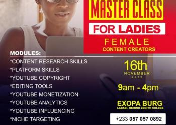Register Now: Entamoty Media Free YouTube Masterclass For Ladies