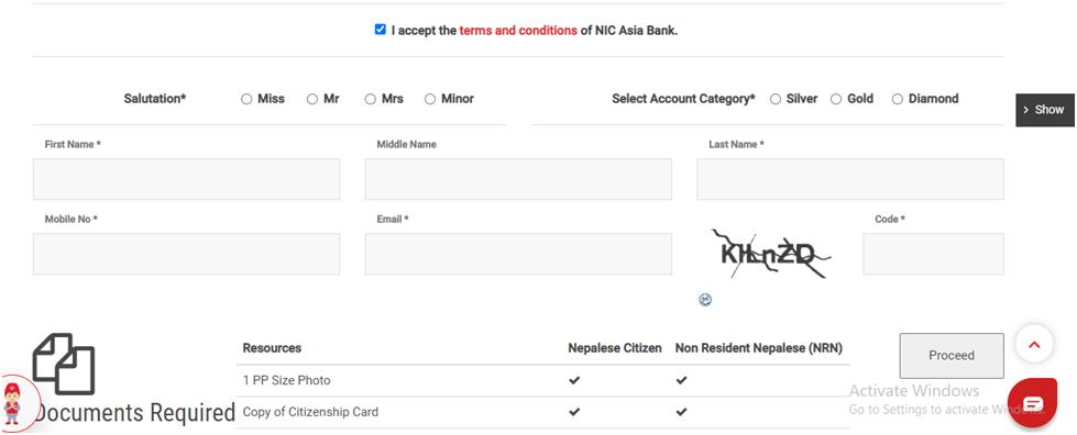 Online Account Opening For Nic Asia Bank