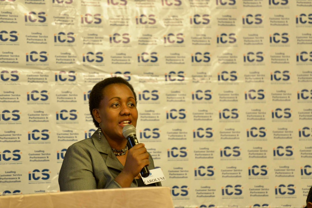Carolyne Gathuru ICS Board member welcoming the guests to the Breakfast Forum