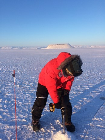 Water is found and a subsequent measurement reveals ice that is only 4 feet (1.2 m) thick. We will not find any ice thicker than this the entire week as we drilled about 50 holes.