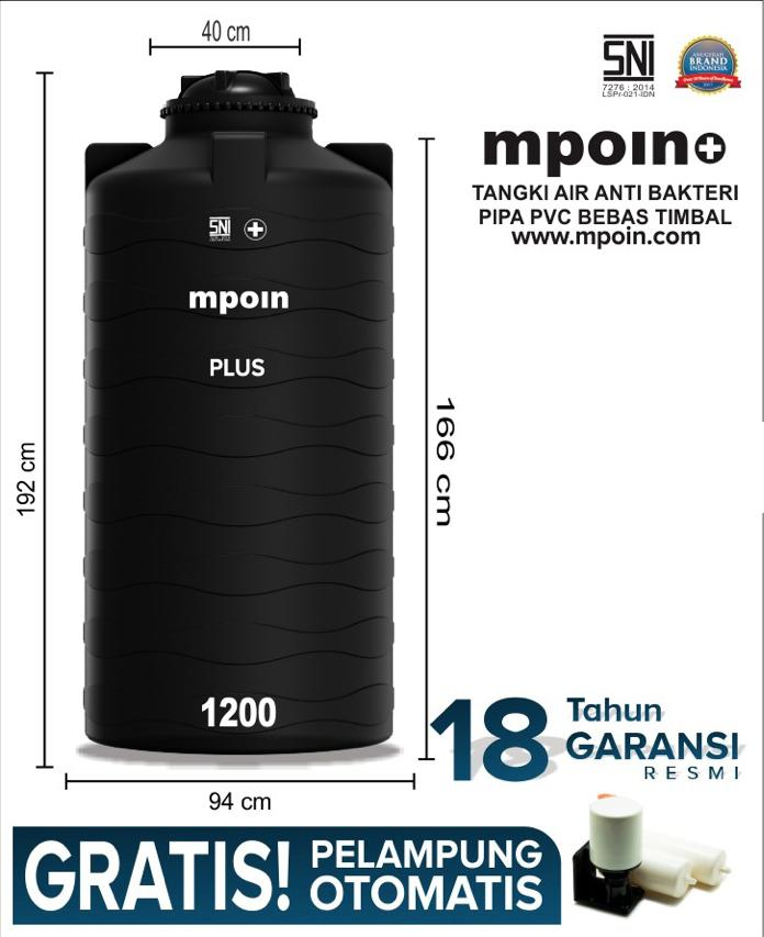 MPOIN PLUS TALL 1200 L - SNI TANGKI AIR TANDON AIR TOREN - ANTI LUMUT ANTI PECAH GARANSI 18TH