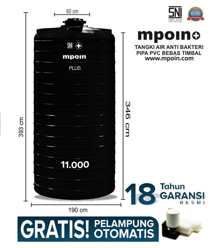 MPOIN PLUS RING 11000 L - SNI TANGKI AIR TANDON AIR TOREN - ANTI LUMUT ANTI PECAH GARANSI 18TH