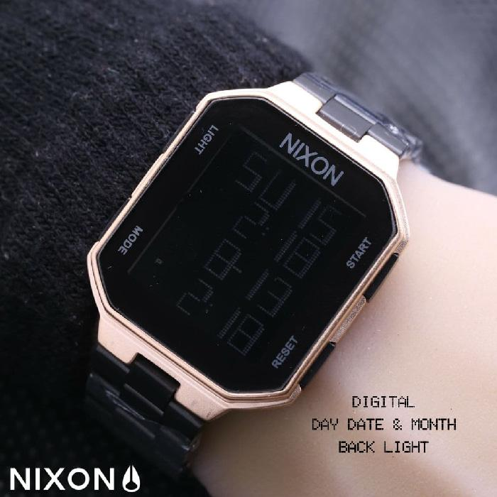 NIXON DIGITAL RANTAI BLACK ROSEGOLD