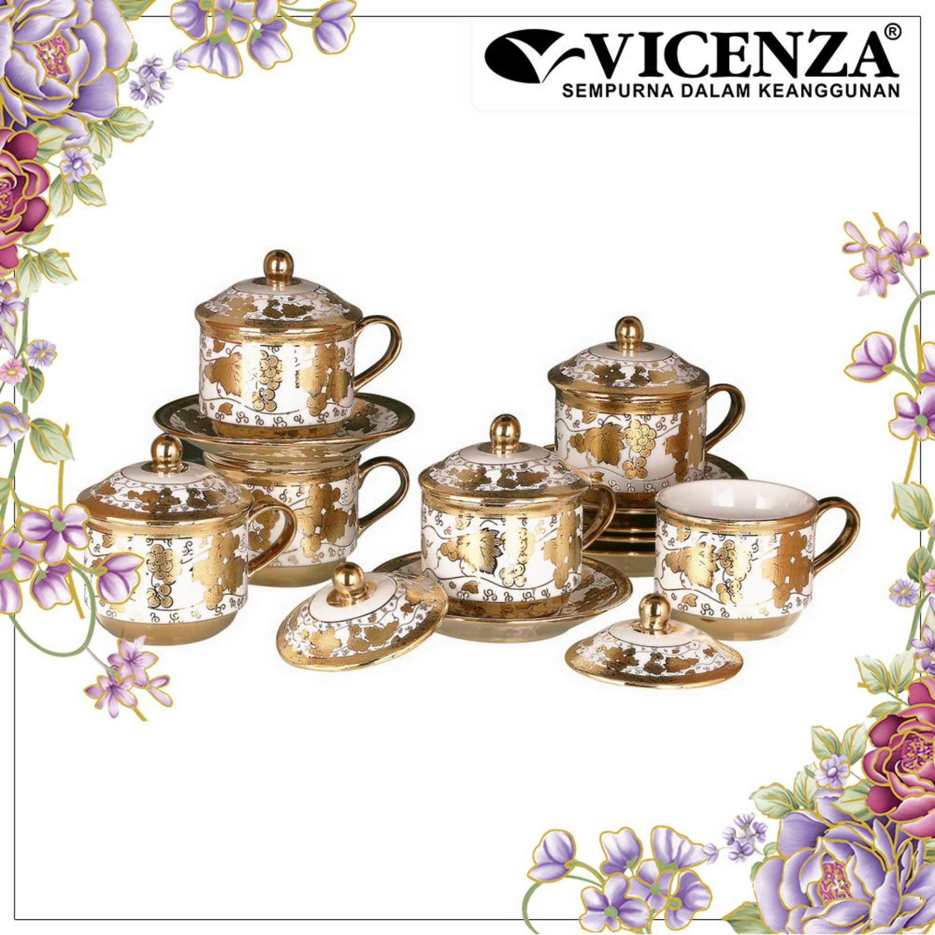 Vicenza TABLEWARE CRY85 (Cangkir dan Lepek dengan Tutup / Cup and Saucer, Tea Set with Cover)