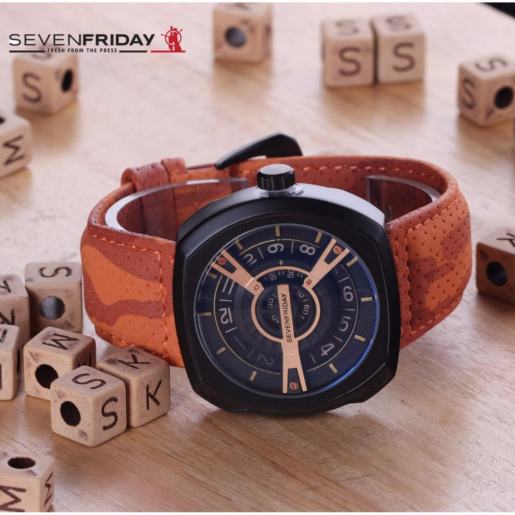 Jam Tangan Pria / Cowok Sevenfriday SK217 Leather Medium Brown Gold