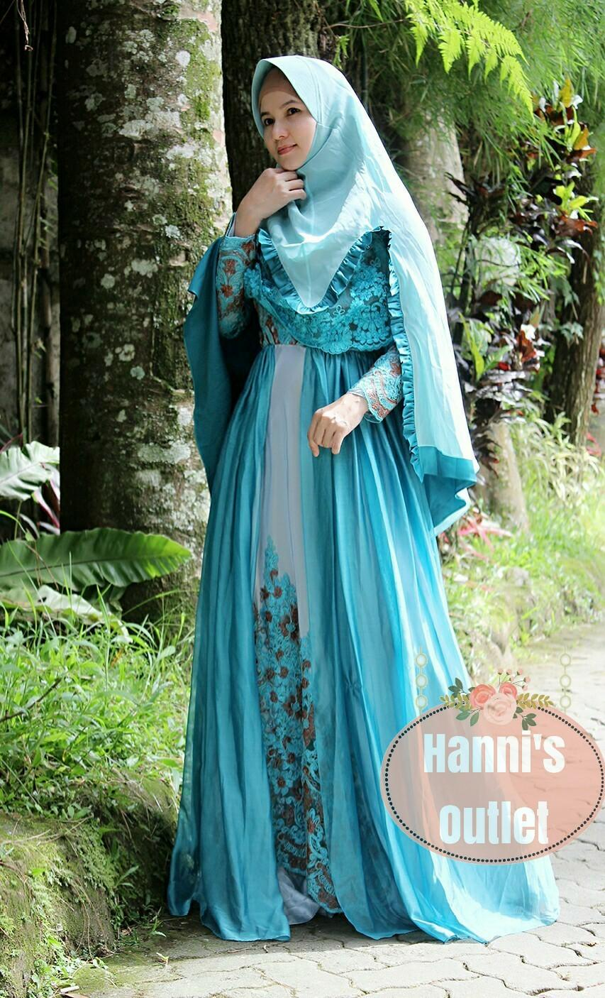 Dress Pesta Cantik Gamis Elegan MS001 Bahan Sutra Chantily mix Sifon