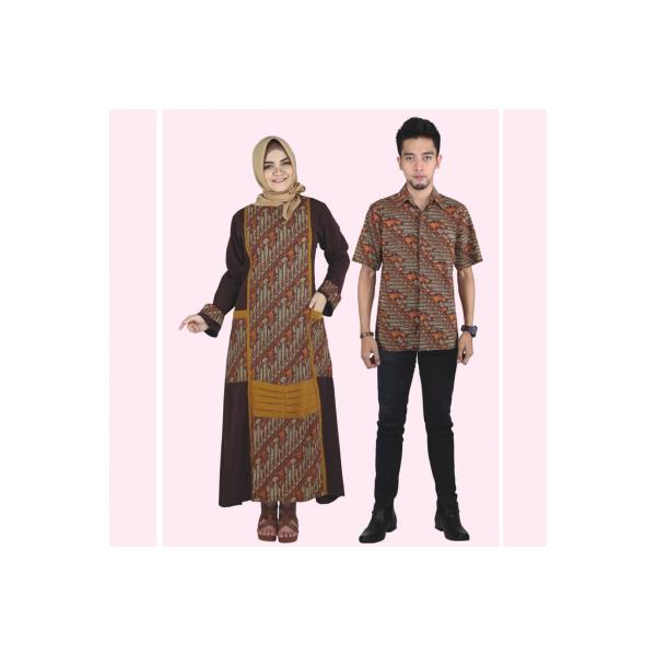 Baju Muslim Modern Terbaru Gamis Koko Couple Anak Pria Wanita Coklat