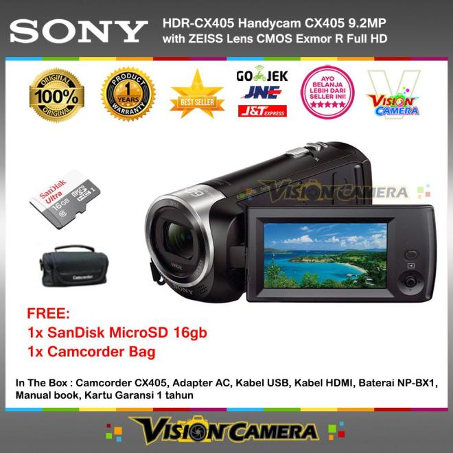 SONY HDR-CX405 Handycam CX405 9.2MP with ZEISS Lens CMOS Exmor R Full HD (Garansi 1th) + MicroSD SanDIsk Ultra 16gb + Camcorder Bag