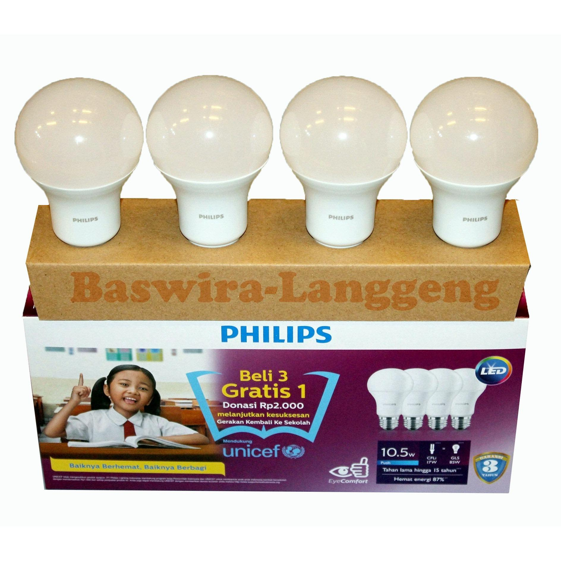 PHILIPS Led Bulb 10,5watt UNICEF Beli 3 gratis 1
