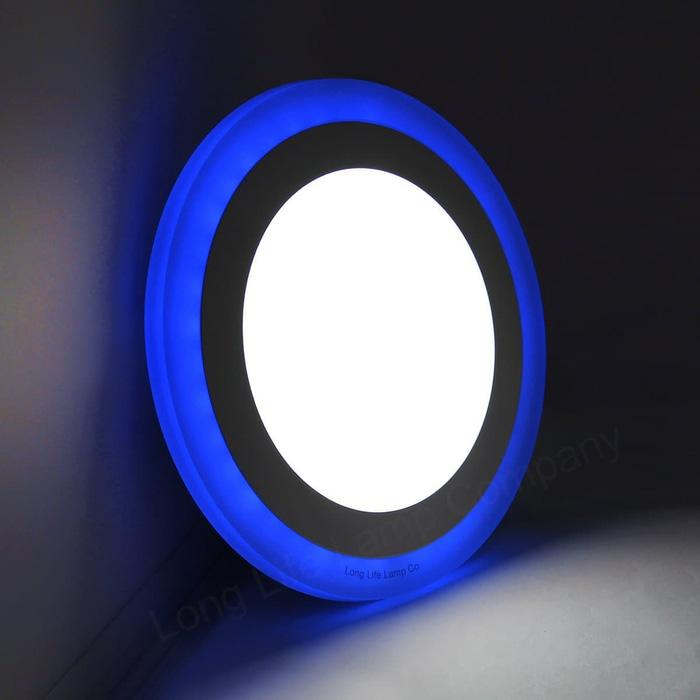 Lampu LED Downlight Panel Bulat Putih 12W + Biru 4W Round White + Blue
