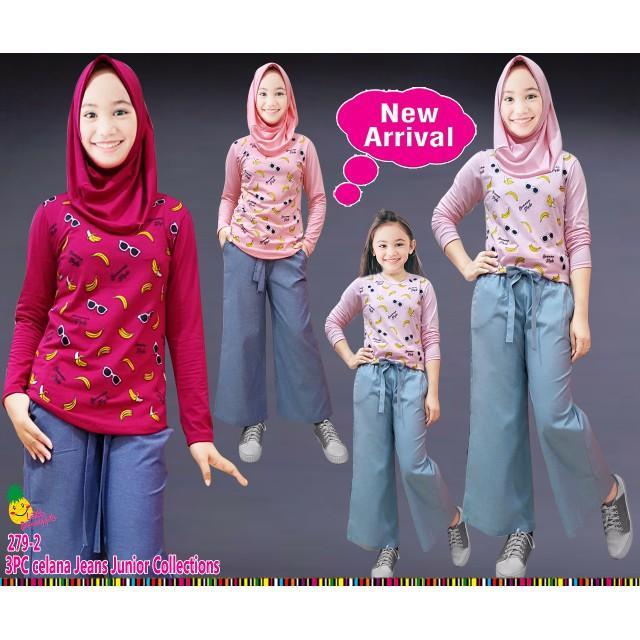 Dijual Th Baju Setelan Muslim Anak Perempuan LP Banana Celana Kulot Limited