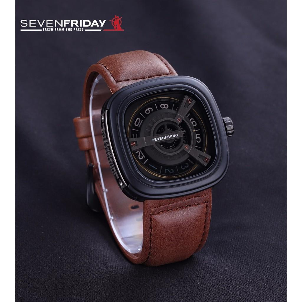 Jam Tangan Pria / Cowok Sevenfriday SK360 Leather Medium Brown Black