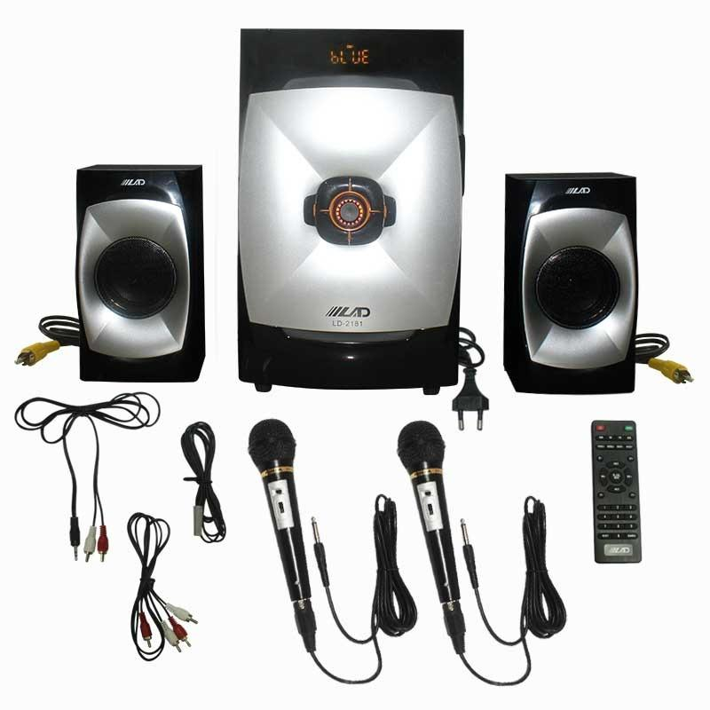 EELIC SPR-LD2181 MIX3 HITAM SPEAKER AKTIF SOUND SISTEM AUDIO KARAOKE SUPER BASS + BLUETOOTH DAN MICROPHONE DENGAN KABEL MIC-FK1800 (2 PCS)