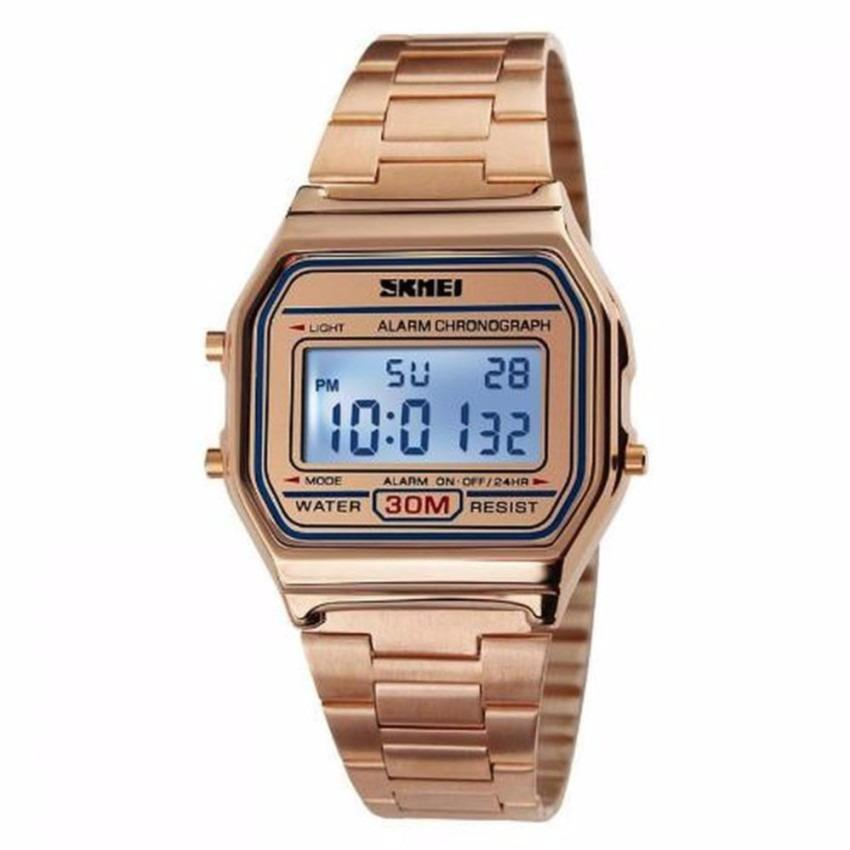 SKMEI Casio Men Digital Casual Stainless Strap Watch Anti Air Water Resistant 30m - DG1123 Jam Tangan Pria Formal Tali Besi - Emas