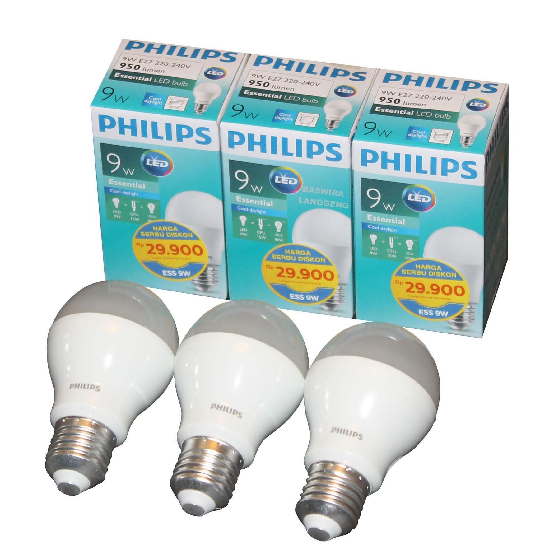 List Harga Lampu Led Philips Paket November 2018 Terupdate 13 Watt Isi 4 Bulb Essential 9 Wat W 9watt 9w 3 Pcs