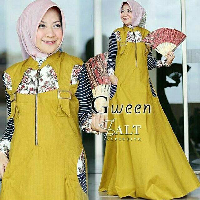 ⚡Jual dress murah /grosir pakaian murah /gween dress maxi (mustard)