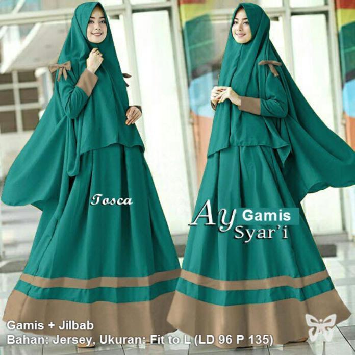 Flavia Store Gamis Syari Set 2 in 1 ( Plus Jilbab ) FS0287 - HIJAU TOSCA / Baju Muslim Wanita Syar'i / Gaun Muslimah / Maxi Dress Lengan Panjang / Hijab / Srayra