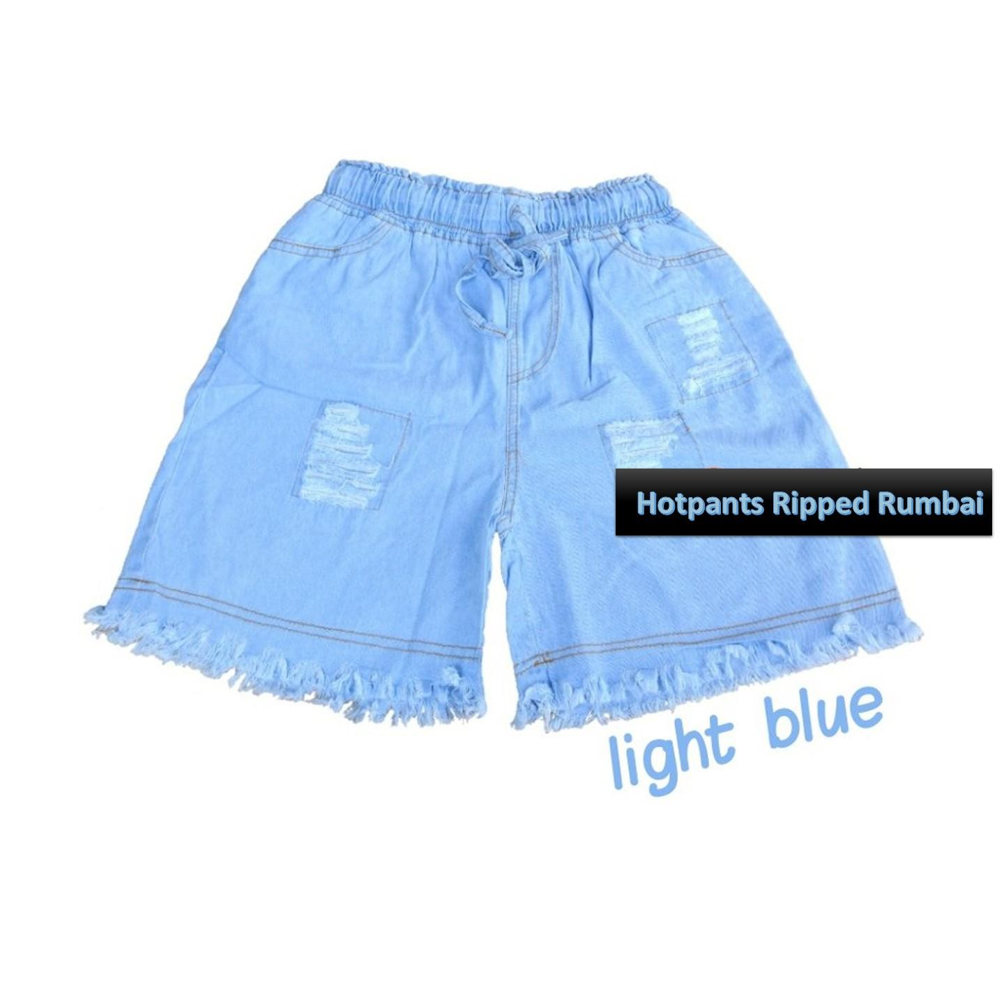 Celana Wanita Hot Pants Ripped Rumbai Jeans - Celana Pendek Celana Santai Fashion Wanita Jeans Pants Summer Gaya Sexy Hot Shorts Celana Sobek Sobek - Light Blue