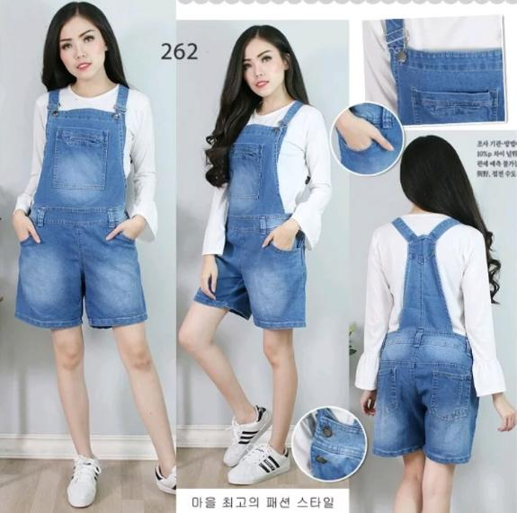 Baju Celana Kodok Overall Jumpsuit Pendek Hot Pants Jeans Stretch Lentur Super Jumbo Big Size 4L 4XL 5L 5XL