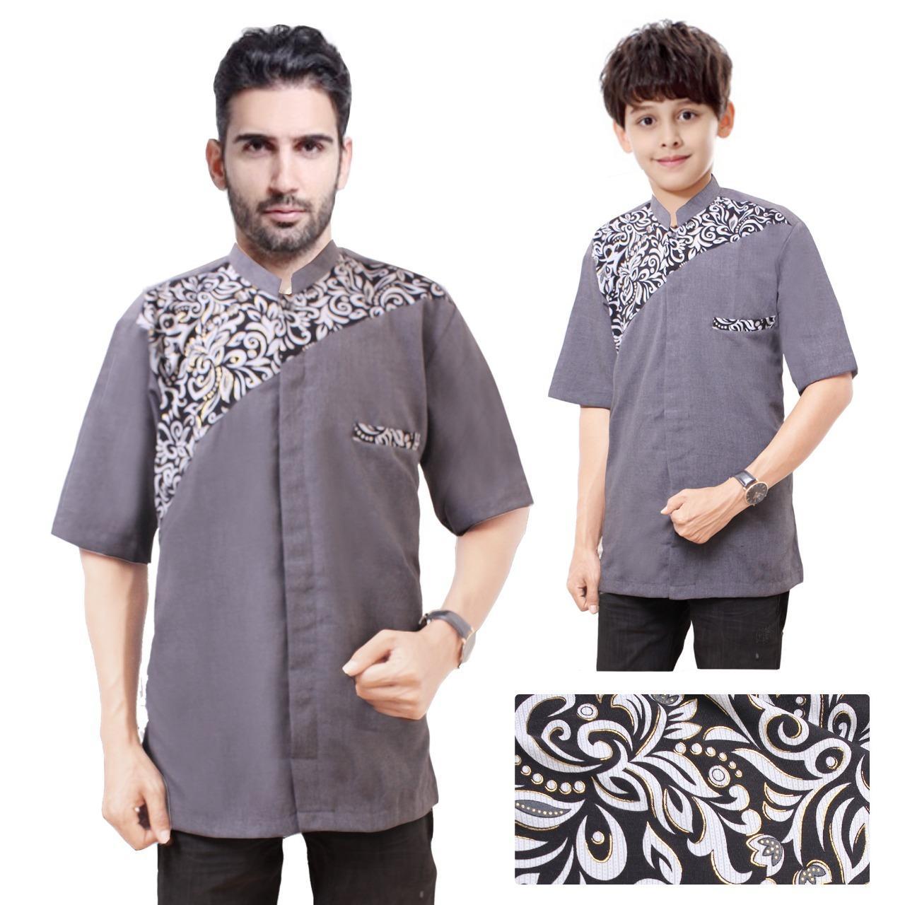 Shining Collection Baju Koko Jaki Kemeja Muslim Lengan Pendek Ayah dan Anak