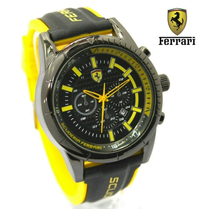JAM TANGAN PRIA FERRARI RUBBER CHRONO OFF YELLOW BLACK