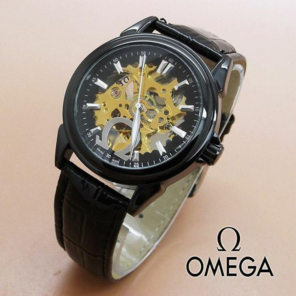 Jam Tangan Automatic Omega O1405 Skeleton Leather Black(Hargajam Harga Jam  Matic Otomatis) 1f0d22315b