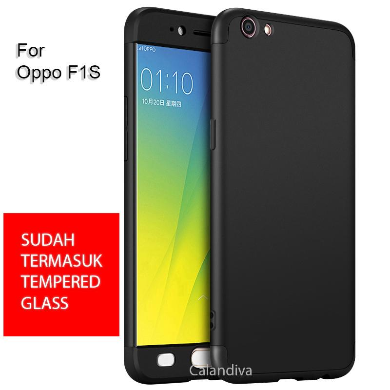 Calandiva Premium Front Back 360 Degree Full Protection Case Quality Grade A for Oppo F1s , A59 /A59S 5.5 Inch ( sama ukuran ) + Rounded Tempered Glass 2.5D Bening
