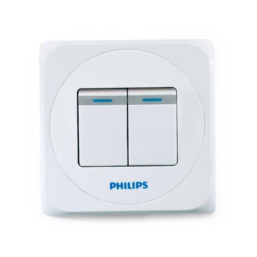 PHILIPS Saklar Simply 2 Gang 1 Way Original Murah