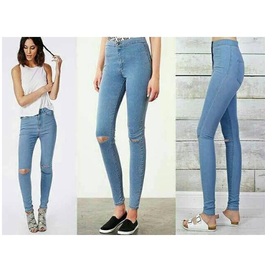 OLIVIAFASHION CELANA JEANS BASIC HIGH WAIST STRETCH BIRU MUDA SOBEK LUTUT SIZE 29