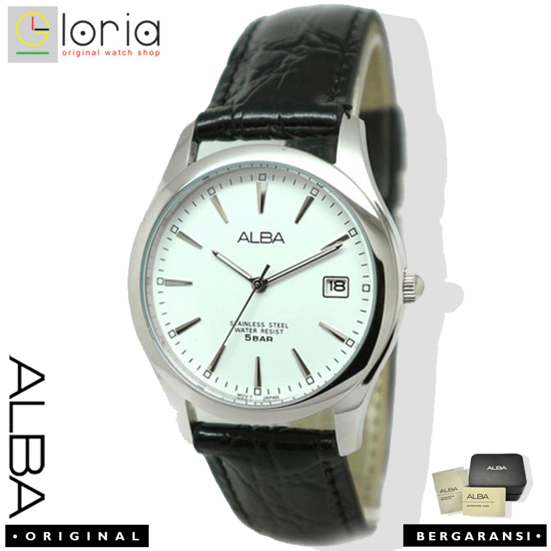Alba Analog AXHL65X1 Jam Tangan Pria - Strap Leather - White Black