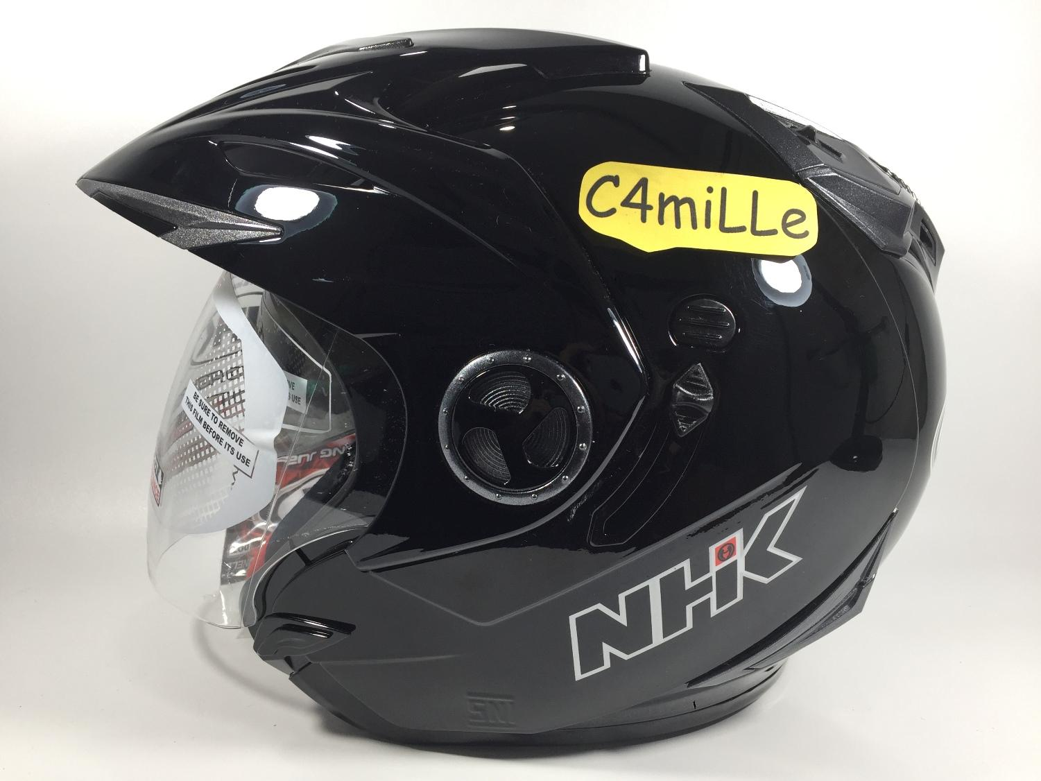 HELM NHK AVIATOR SOLID BLACK DOUBLE VISOR HALF FACE SIZE M