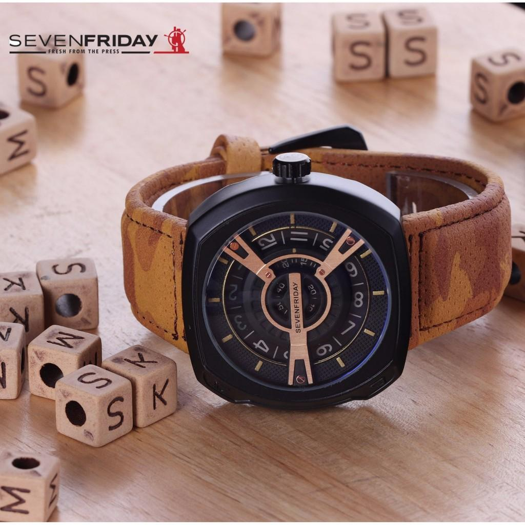 Jam Tangan Pria / Cowok Sevenfriday SK217 Leather Light Brown Gold