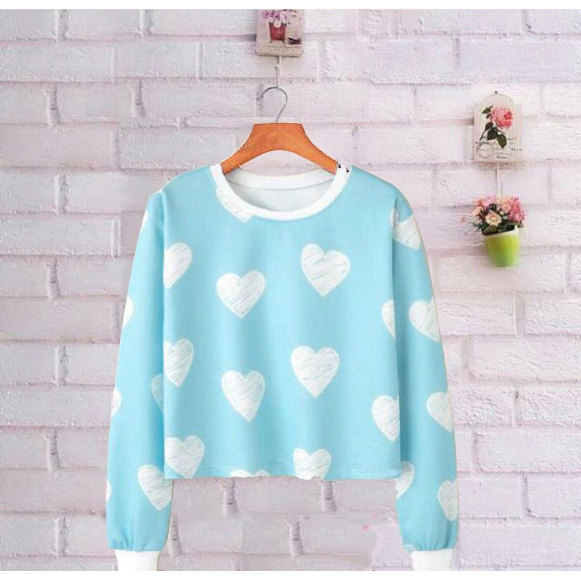 Zhenit-Collection Sweater Wanita Crop Blue Love Blue