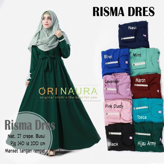 Gamis Muslimah Dress (RISMA DRESS) Ori Naura (MARUN)