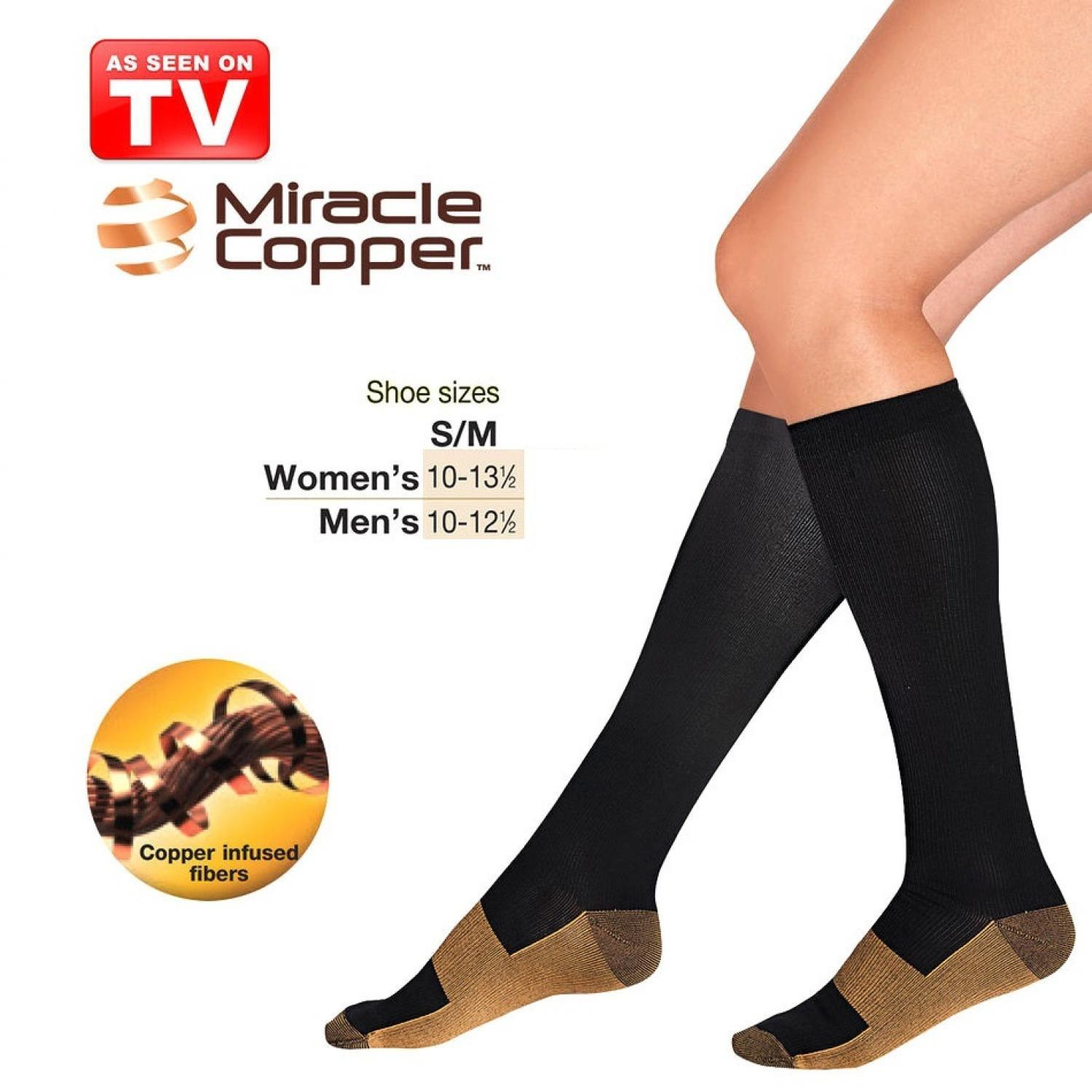 Miracle Copper Socks Stovepipe Healthy S/M Size Kaos Kaki Kesehatan s7260 - Black