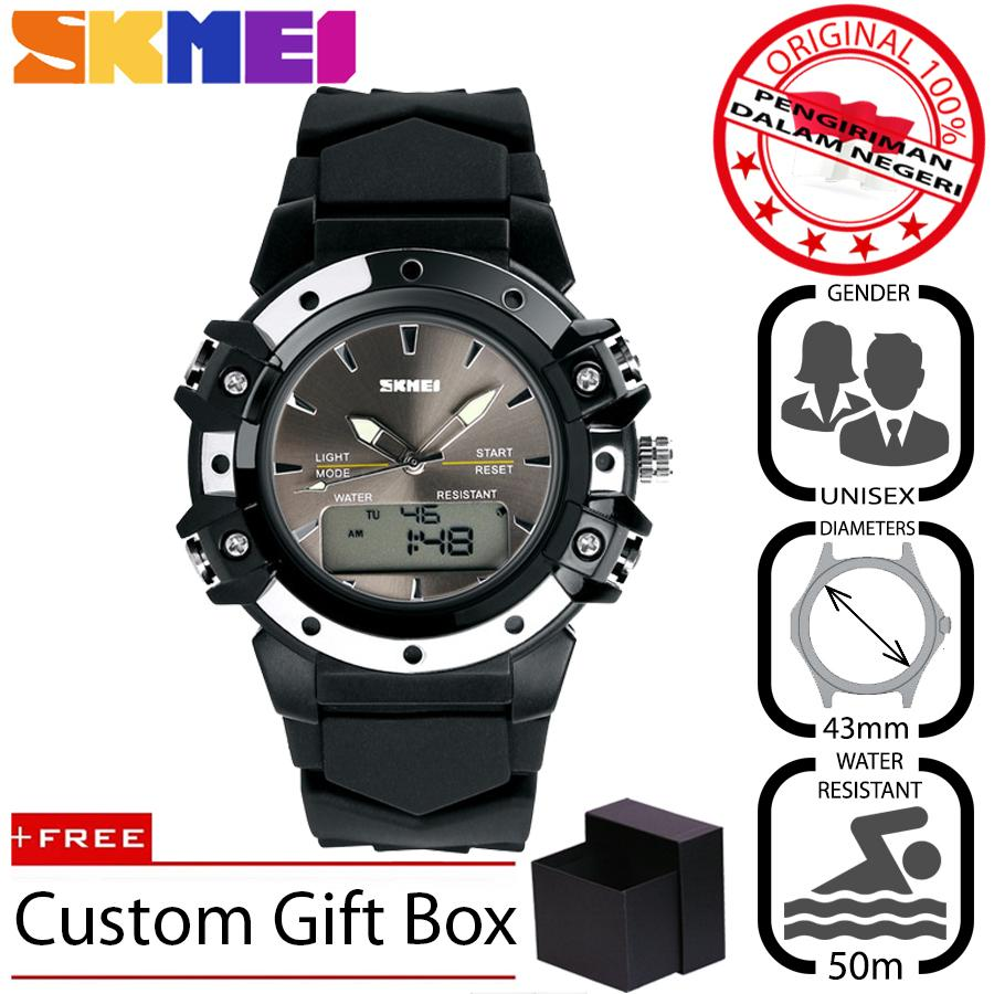 SKMEI 821 Jam Tangan Pria - Wanita Sport Fashion Analog - Digital Silikon PU 43 mm - Anti Air 50 M Renang - Water Resistant Watches