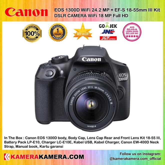 CANON EOS 1300D EF-S 18-55mm III WiFi / NFC 18MP Sensor APS-C CMOS 9AF - Garansi 1th