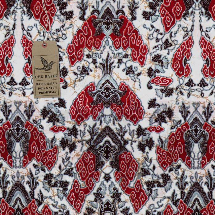 Cek Batik - Kain Batik Motif Megamendung Modifikasi (Merah)